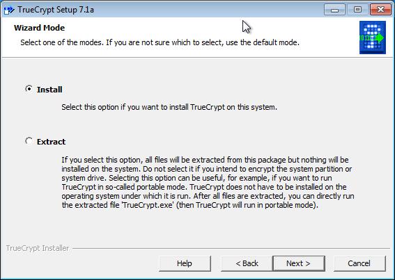 Obrázok 2: Inštalácia TrueCrypt, krok č.2.