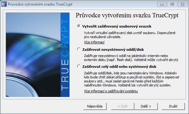 Obrázok 5: Sprievodca vytvorením šifrovanej oblasti (text v tomto dialógu nieje v slovenčine plne preložený).
