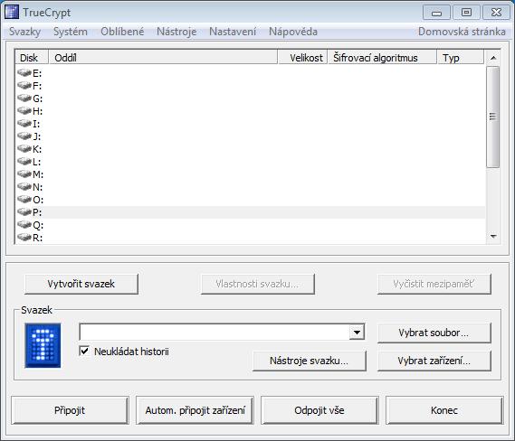 Obrázok 4: Hlavné okno aplikácie TrueCrypt.