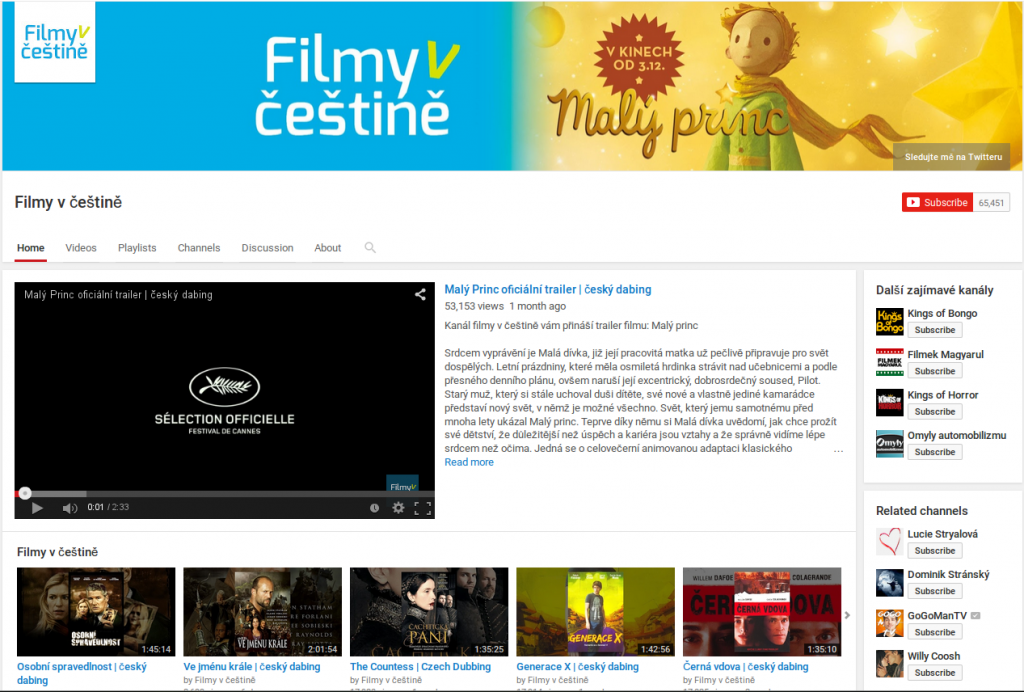 Youtube Filmy v čestine